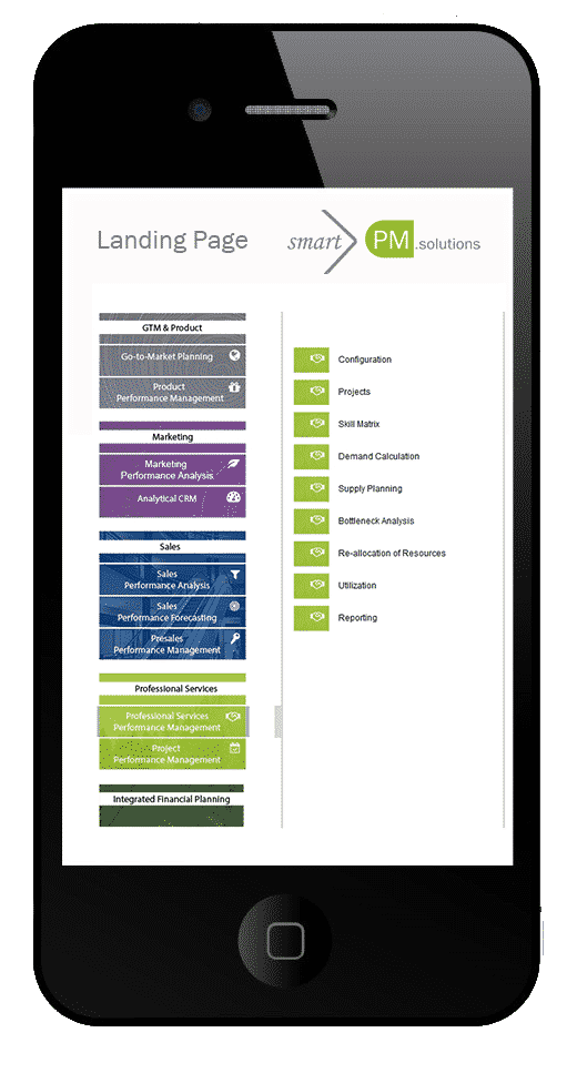 Landingpage smartPM.solutions Modules on Mobile